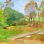 深まる秋:近くの川沿いで描きました。この時期は暗くなるのがあっという間ですね。もっと描いていたいのに…。