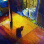 猫:甲府の実家で撮った写真を基に描きました。