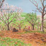 桜の咲く丘:地元の自然公園で描きました! 風が吹くと桜が舞って、とても綺麗でしたよ。