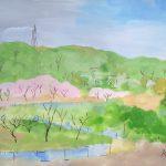 春の里山:地元の畑の近くで描きました。予想外の冷たい風と寒さで満足に描けず…。