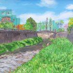 春から初夏へ:地元の川沿いで描きました。ぽかぽか陽気で眠くなってしまうほど。