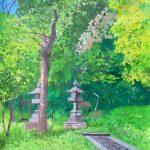 新緑の参道:地元の神社の参道で描きました。真っ青な空が気持ちいい日。