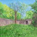 川沿いの柳:地元の川沿いで描きました。辺りはすっかり緑色ですね。