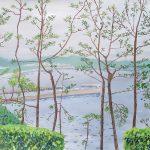 松林の向こうに:横浜・金沢区の野島公園で描きました。曇り空で霞んでいましたね。