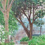 今日も曇り空:横浜の掃部山(かもんやま)公園で描きました。7月末でも梅雨が明けません。