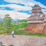 真夏の松本城:長野の松本で描きました。とても暑くて、木陰で休憩しながら。