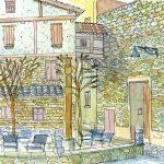 パンプローナ:スペインの巡礼路で。カフェの近くです。早朝なので寒かった!