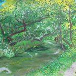 川のせせらぎとともに:長野の安曇野(あずみの)にある「大王わさび農場」で描きました。