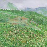 霧の美ヶ原:松本市の東に位置する高原、美ヶ原(うつくしがはら)で描きました。真夏でも寒いほど。