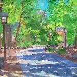四柱神社の参道:長野・松本の四柱神社(よはしらじんじゃ)で描きました。木陰に入ると心地よい風が。