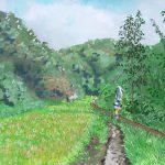 収穫の前に:地元の自然公園で描きました。画面中央の鱗模様はアマビエのカカシです。
