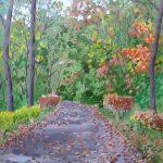 落ち葉を踏んで:地元の自然公園で描きました。秋も終わりで道には落ち葉がたくさん。