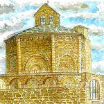 エウナテ:スペインの巡礼路で。この建物は聖墳墓教会と呼ばれています。上から見ると、屋根は八角形の形をしています。