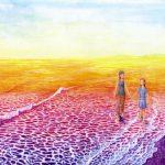 海辺の二人:歯医者に依頼を受けて描いた絵です。とても喜んで頂きました。