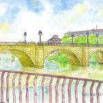 ログローニョ:スペインの巡礼路で。この橋は「ピエドラ橋」と呼ばれています。早朝だったので寒かった!
