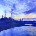 夜明けの工場:祖父が撮った写真を基に描きました。