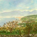 吾妻山公園から:二宮の吾妻山(あづまやま)公園で描きました。相模湾や小田原、箱根の山々が一望できました。
