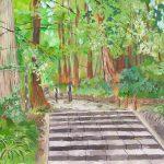 緑に溶ける:神奈川西部の山中にある大雄山最乗寺で描きました。ここは参道の杉並木が有名で、天狗の伝説もあるのだとか。