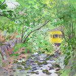 涼を求めて:神奈川の山中にある「洒水(しゃすい)の滝」で描きました。蒸し暑い日でしたが、現場は涼しげ。