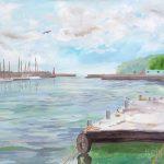 真鶴漁港:神奈川の最西端にある真鶴(まなづる)漁港で描きました。釣りをしている人もたくさんいましたよ。