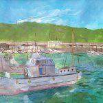 大磯漁港:神奈川の大磯漁港で絵を描きました。10月というのに異常な日差しの強さ!