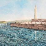 潮風に吹かれて:江ノ島の釣り場で描きました。白い灯台があり、休日は釣り人たちで賑わいます。