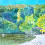 穏やかな池:横浜・金沢区の不動池という場所で描きました。鯉や鴨などが泳いでいましたよ。