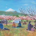 春はそこまで:小田原の曽我梅林で描きました。園内は梅の良い香りが一面に。