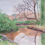 静かな水面:地元の川沿いで描きました。歩いて行ける距離でも普段はあまり来ないところ。