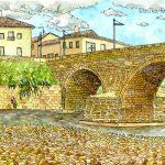 オスピタル・デ・オルビゴ:スペインの巡礼路で。ここには長い橋があります。僕はこの町でお金を盗まれたので、あまり良い思い出はないですね。