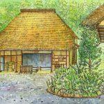 古民家:地元の自然公園で。元々ここにあった家ではなく、別の場所から移築されたものです。