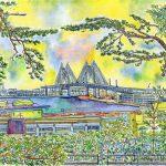 横浜ベイブリッジ:港の見える丘公園から。