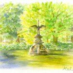 柔らかな日差し:日比谷公園で描きました。 割と有名(?)な鶴の噴水です。