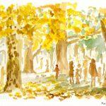 落ち葉の上で:日比谷公園でスケッチしました。黄色く色づいた木々がとても綺麗!