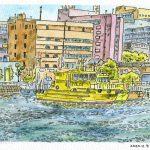 水先案内船:象の鼻防波堤の突端から。黄色い船は水先案内船です。