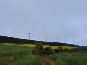 登り道の先に風車が見える