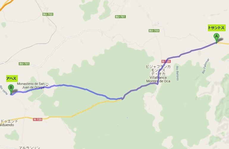 トサントス~アヘス(※地図上のルートと巡礼路は一部異なります)