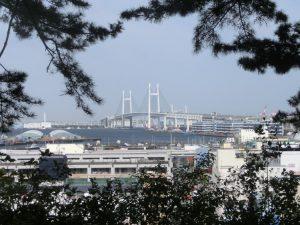 横浜ベイブリッジを眺める