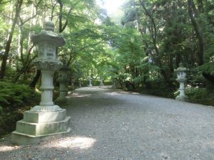 石灯籠が並んだ参道を歩く