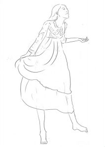 フリルの付いた衣装を着るモデルさん
