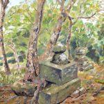 古い祠:鎌倉の源氏山公園で描きました。頂上には忘れられたような古い祠がありました。