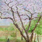 桜の下を歩く:地元の公園で描いた絵です。桜は散り始めていましたが、ぎりぎり持ってくれました。