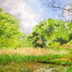 若葉の季節:地元の自然公園で描きました。当日は天気も良く、木々は鮮やかな緑色で眩しいほどでした。