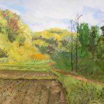 稲刈りを終えて地元の自然公園で描きました。3月に描いた「芽吹きを待つ」と同じアングルです。