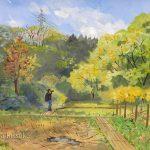 森へと続く木道:どこまで続いているのかな。地元のハイキングコースで描きました。