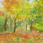 落ち葉のメロディ:秋の散歩道です。地元の川沿いで描きました。