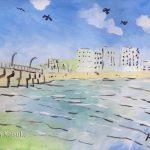 湘南の海:江ノ島で描きました。当日は風が強かったです。