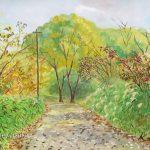 ススキの道:地元の自然公園で描きました。道端で描いていたら、遠足で来ていた子供たちにめっちゃ見られましたよ!