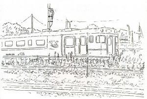 古い電車のスケッチ