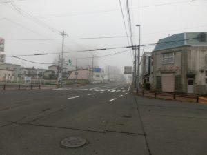 朝は霧が出ている